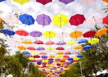 Umbrella walk. Colorful umbrellas decorating the pavement at Floria Putrajaya Royalty Free Stock Photo