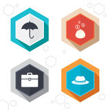 Umbrella, wallet and hat with case Royalty Free Stock Photography