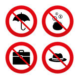Umbrella, wallet and hat with case Stock Images