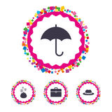 Umbrella, wallet and hat with case. Royalty Free Stock Photo