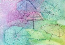 Umbrella Wallpaper - Abstract Background - Original Painting. Abstract background or walllpaper. Colorful umbrellas - original watercolor painting Vector Illustration