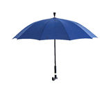 Umbrella, white background separation. Blue umbrella open wooden handle Royalty Free Stock Photo