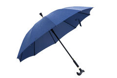Umbrella, white background separation. Blue umbrella open wooden handle Royalty Free Stock Images
