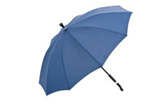 Umbrella, white background separation. Blue umbrella open wooden handle Royalty Free Stock Photos