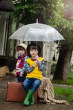 Umbrella, Yellow, Sitting, Snapshot Stock Photos