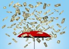 Umbrella and yen bills 3D royalty free illustration