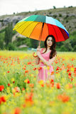 With umbrella Stock Photo