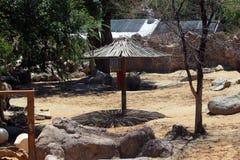 Umbrella at Zoo. In the Giraffe cage Stock Image
