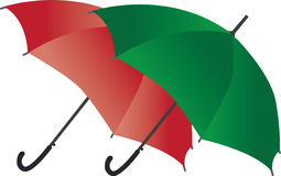 Umbrellas. Green and red umbrellas isolated on white Stock Images