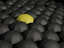 Umbrellas. Lonely yellow umbrella – concept image royalty free illustration