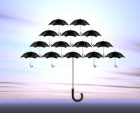 Umbrellas. An illustration of umbrellas in the sky Stock Photo