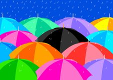 Umbrellas. Black Umbrella among Colourful Umbrellas Royalty Free Stock Photography