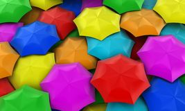 Umbrellas. Illustration of many multicolored umbrellas collected in one place Stock Photography