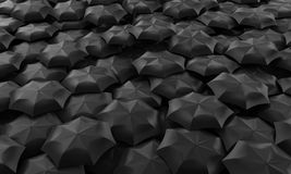 Umbrellas. Illustration of many dark umbrellas collected in one place Stock Photography