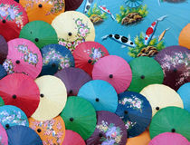 Umbrellas. Brightly coloured Thai paper umbrellas Royalty Free Stock Photography