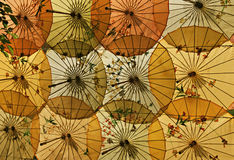 Umbrellas. Bright chinese umbrellas in the form of decoration Stock Photography