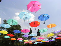 Umbrellas. Hang near the main gate at Xiangshan, or the Fragrant Hill, in the summer Royalty Free Stock Photo
