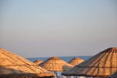 Umbrellas. A photo of umbrellas of sunbeds Stock Photo