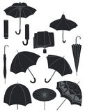 Umbrellas. A set of silhouettes of umbrellas Royalty Free Stock Photo