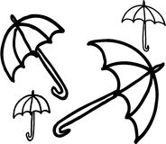 Umbrellas. Four different umbrellas on white background. vector image Royalty Free Stock Image