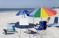 Umbrellas And Whiteboard Stock Photography