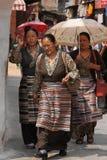 Umbrellas around Bodnath Stupa Royalty Free Stock Images