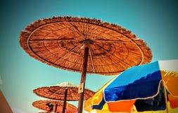 Umbrellas. In the beach Royalty Free Stock Photos