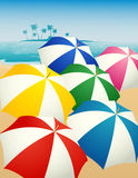 Umbrellas on the beach Royalty Free Stock Photography