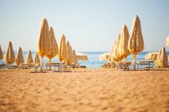 Umbrellas at beach Royalty Free Stock Images
