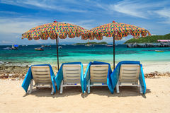 Umbrellas With Beach Chairs Royalty Free Stock Image