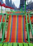 Umbrellas and beach chairs on Cha um beach Thailand. Umbrellas and beach chairs on Cha um beach Royalty Free Stock Image