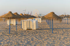 Umbrellas and beach chairs. Stock Photography