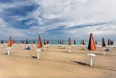 Umbrellas beach closed in a Italian beach Royalty Free Stock Photo