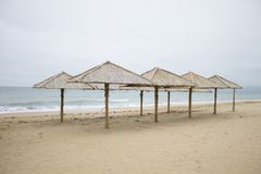 Umbrellas on the beach. Deserted clean beach tropics Royalty Free Stock Images