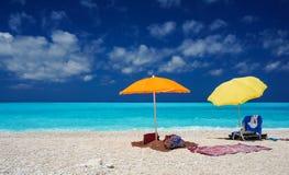 Umbrellas on a beach in Kefalonia. Greece stock image