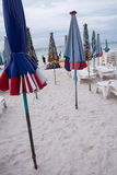 Umbrellas on the beach at Koh Lan Royalty Free Stock Image