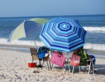 Umbrellas at the beach Royalty Free Stock Photos