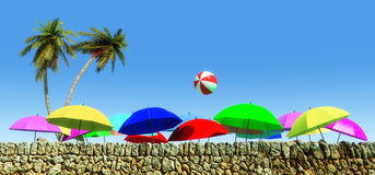 umbrellas on the beach Royalty Free Stock Image