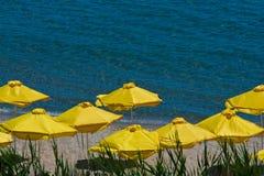 Umbrellas on beach. View in Sunny Beach - Bulgaria Royalty Free Stock Photo