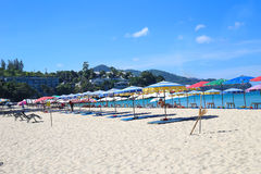Umbrellas in a beautiful day on Surin beach in Phuket Thailand Royalty Free Stock Images