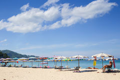 Umbrellas in a beautiful day on Surin beach in Phuket Thailand Stock Image