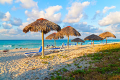 Umbrellas and  beds on the cuban beach of Varadero Royalty Free Stock Photo