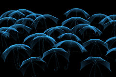 Umbrellas blue x-ray Stock Images