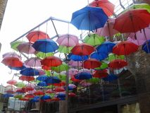 Umbrellas in brew wharf Royalty Free Stock Image