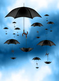 Umbrellas carrying Umbrellas. An illustration of Umbrellas carrying Umbrellas in the sky Stock Images