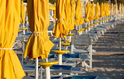 Umbrellas and chairs on a bathing establishment Royalty Free Stock Photos