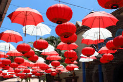 Umbrellas and Chinese lanterns, Mauritius Stock Photo
