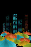 Umbrellas in the city Stock Image