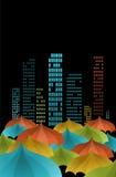 Umbrellas in the city. Many umbrellas in the night city Stock Image