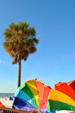 Umbrellas on Clearwater Beach in Florida Stock Photos